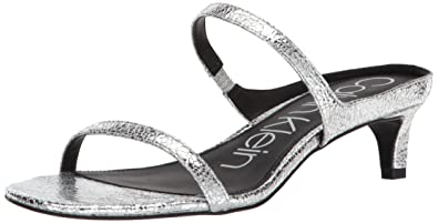 ac6623925dc9 Calvin Klein Women s Domenica Sandal Cracked Metallic Silver 6.5 Medium US