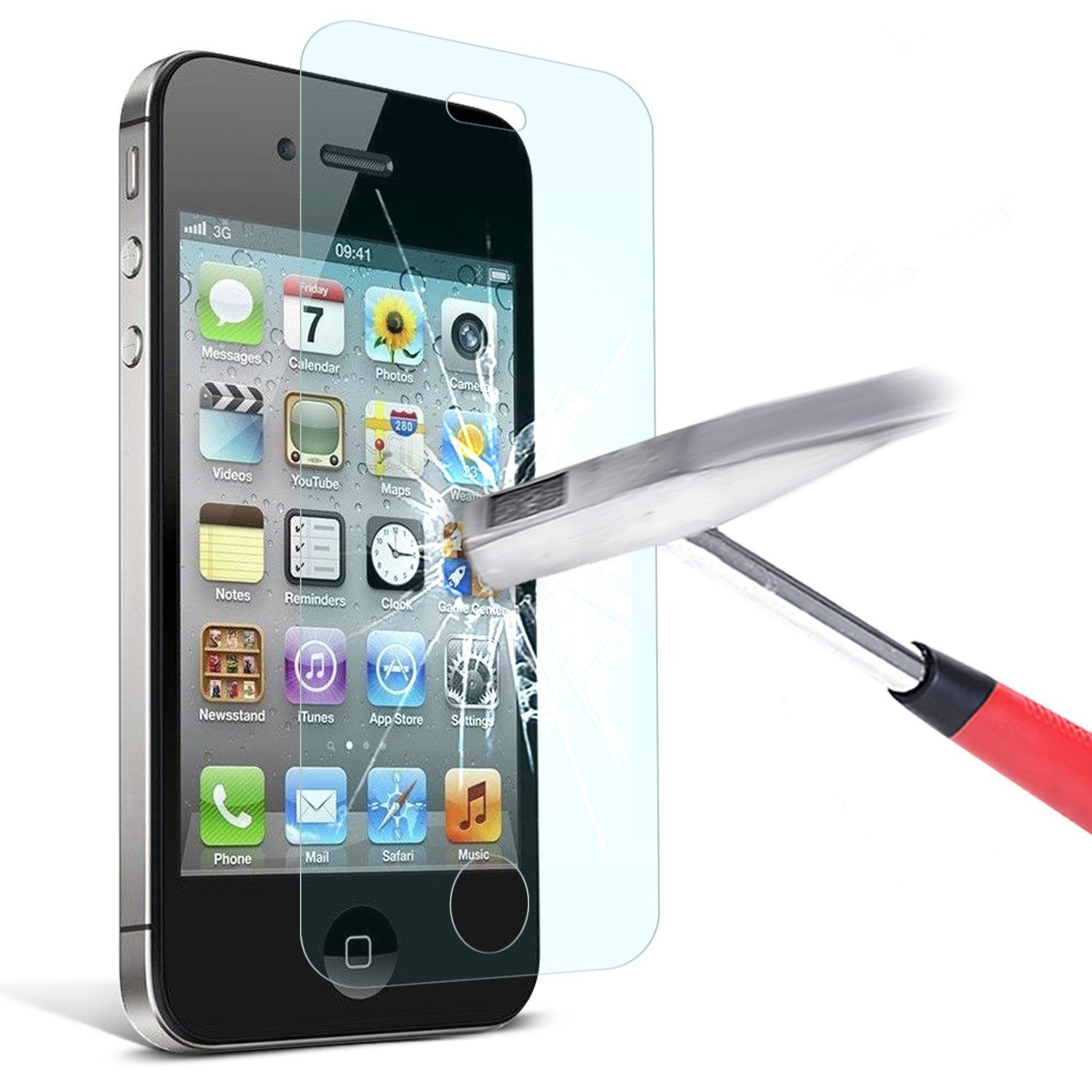 2915cac2e1a Amazon.com: TANTEK Tempered Glass Screen Protector for Apple iPhone 4/4S,  Clear, 2 Pack: Cell Phones & Accessories