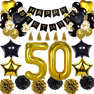 50th Birthday Decorations Balloon Banner - Happy Birthday Banner, 50th Gold Number Balloons, Black and Gold, Number 50 Birthday Balloons, 50 Years Old Birthday Decoration Supplies: Toys & Games