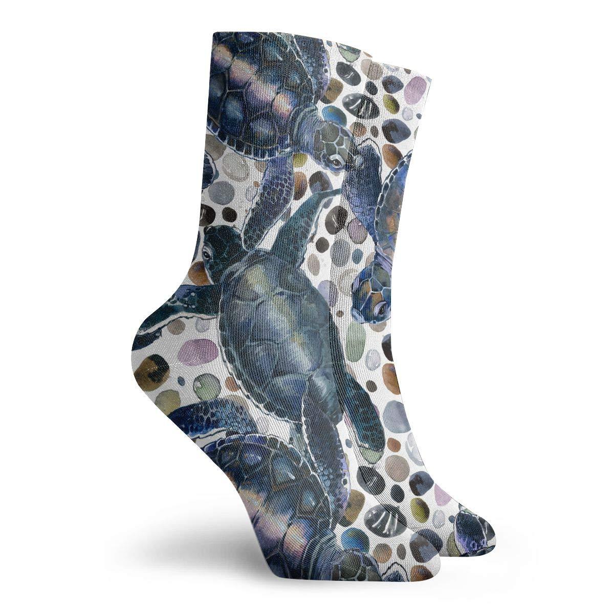 Adult Sea Turtle Pattern Cushion Crew Socks