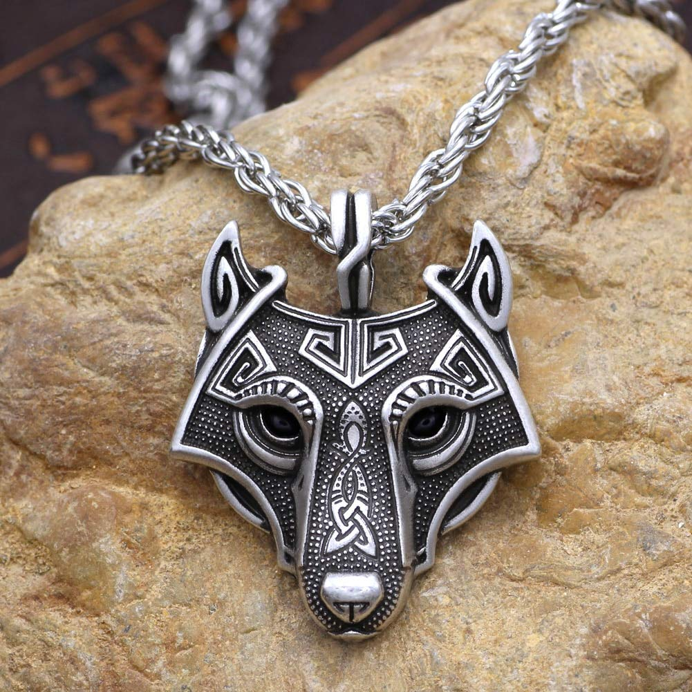 5 Colors 1pcs Norse Vikings Pendant Necklace Norse Wolf Head Necklace Original Animal Jewelry Wolf Head Hange