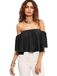 ade5a452ad9f Amazon.com  Zeagoo Off Shoulder Top Casual Short Sleeve Shirt Cute ...
