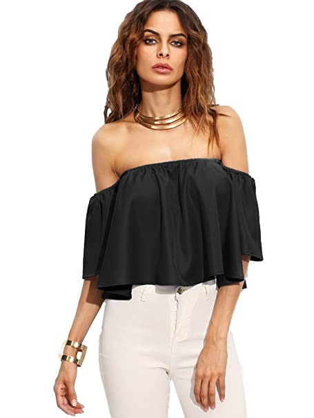 448ccc3178 SheIn Women's Boho Ruffle Off Shoulder Bell Sleeve Crop Top Blouse Small  Black