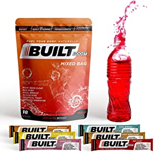 Built Boost 18 Pack Natural Energy Drink Mix - 100% of 12 Daily Vitamins - Immune Support and Sustained Energy - Caffeine Free, Gluten Free and Zero Calories (Mixed Bag)
