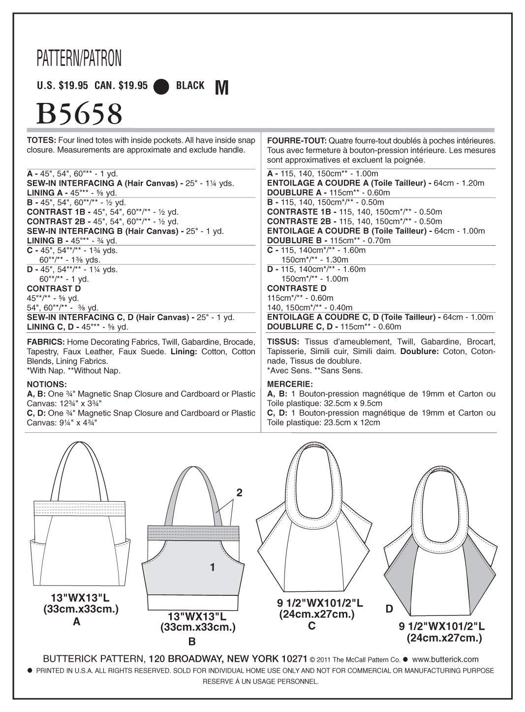 Butterick 5658 Sewing Pattern to MAKE Four Lined Tote Bags with Inside Pockets