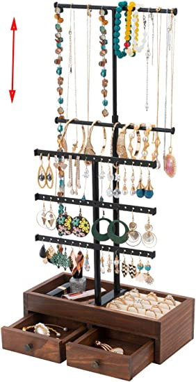 Amazon Com T Shape Jewelry Stand Organizer 5 Tier Jewelry Holder Stand Tree Stand Jewelry Display Stand Jewelry Rack Tower With Wooden Box For Earring Necklace Bracelet Jewelry Storage Showcase Home Improvement