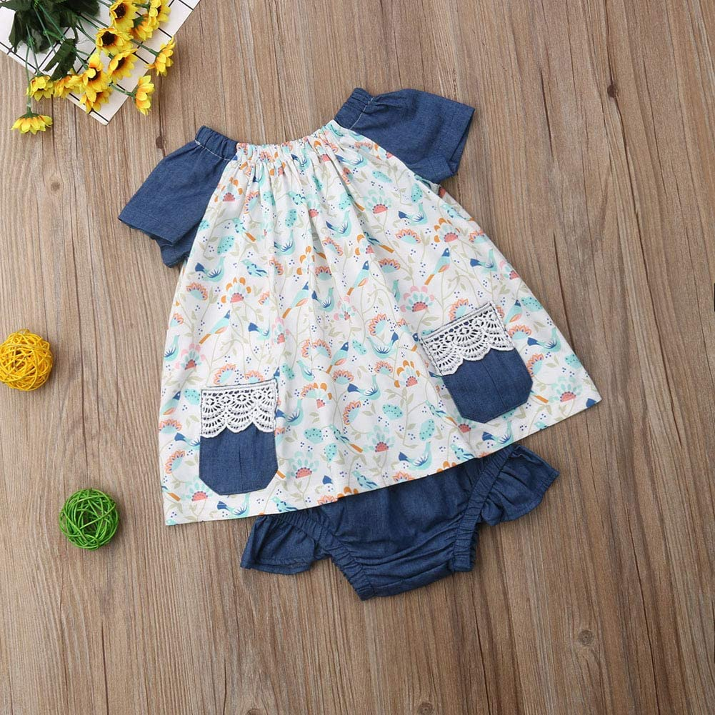 Toddler Baby Girl Floral Outfit Short Sleeve Flower Ruffle Dress Tops+Denim Shorts Pants 2Pcs Clothes