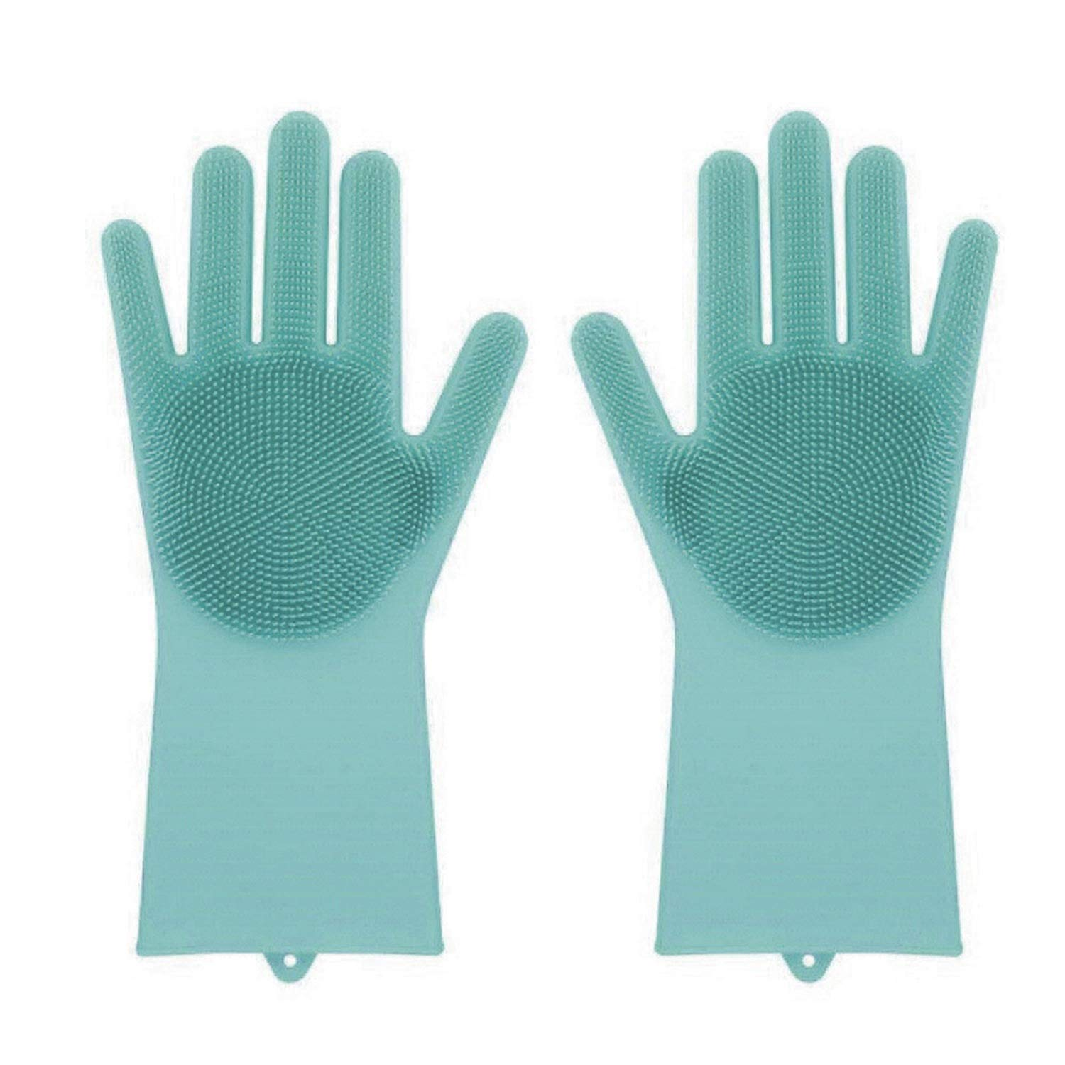 Magic Silicone Rubber Dish Washing Gloves -ping Eco-Friendly Scrubber Cleaning Silicon Dish Scrubber Glove,Green,1 Pair