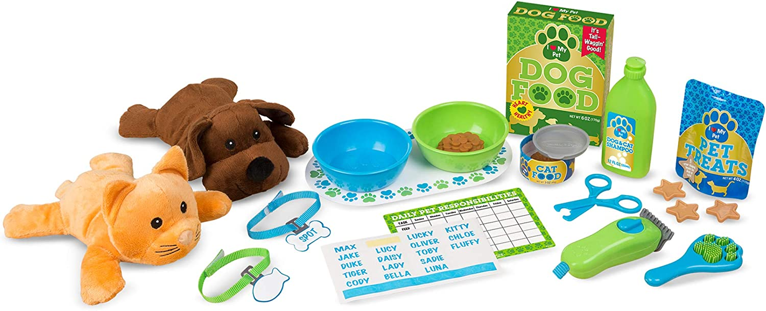 Melissa & Doug Feeding & Grooming Pet Care Play Set (24 Pieces)