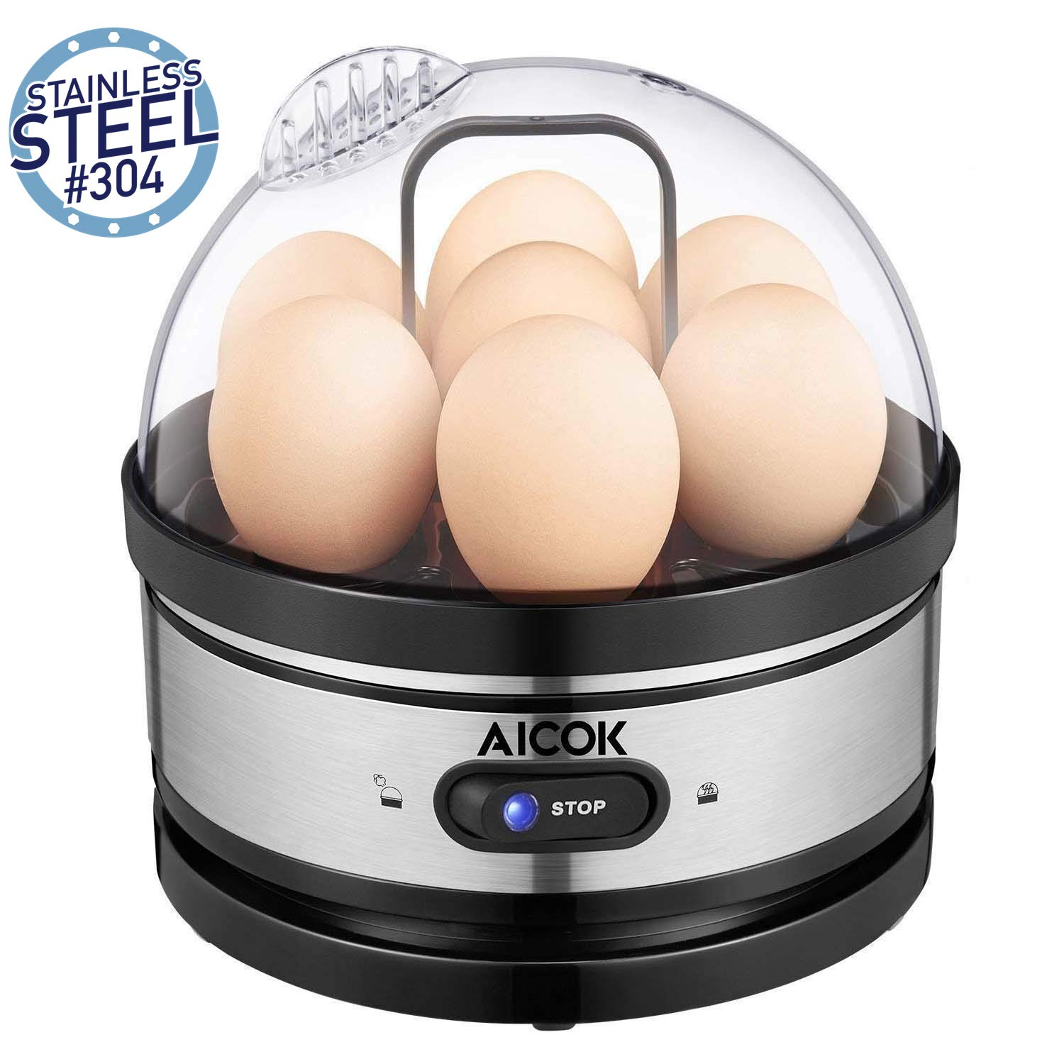 Egg Cooker, Aicok Egg Steamer with Heat Preservation Function,7 Egg Capacity Stainless Steel Electric Egg Boiler for Hard Boiled Eggs, Poached Eggs, Omelets with Automatic Power-Off