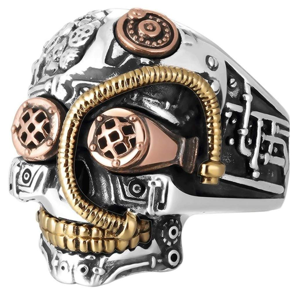 Steampunk Skull Rings for Men Women Biker Jewelry Cool Gothic Golden Sugar Skull by Quelife