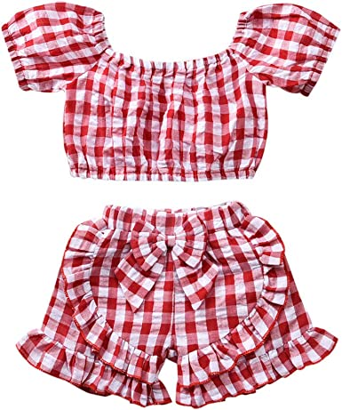 6-12 Months, Red Plaid top+Denim Skirt Set Toddler Baby Girl Clothes Ruffle Plaid Sleeveless Top and Denim Skirt 2Pcs Outfits