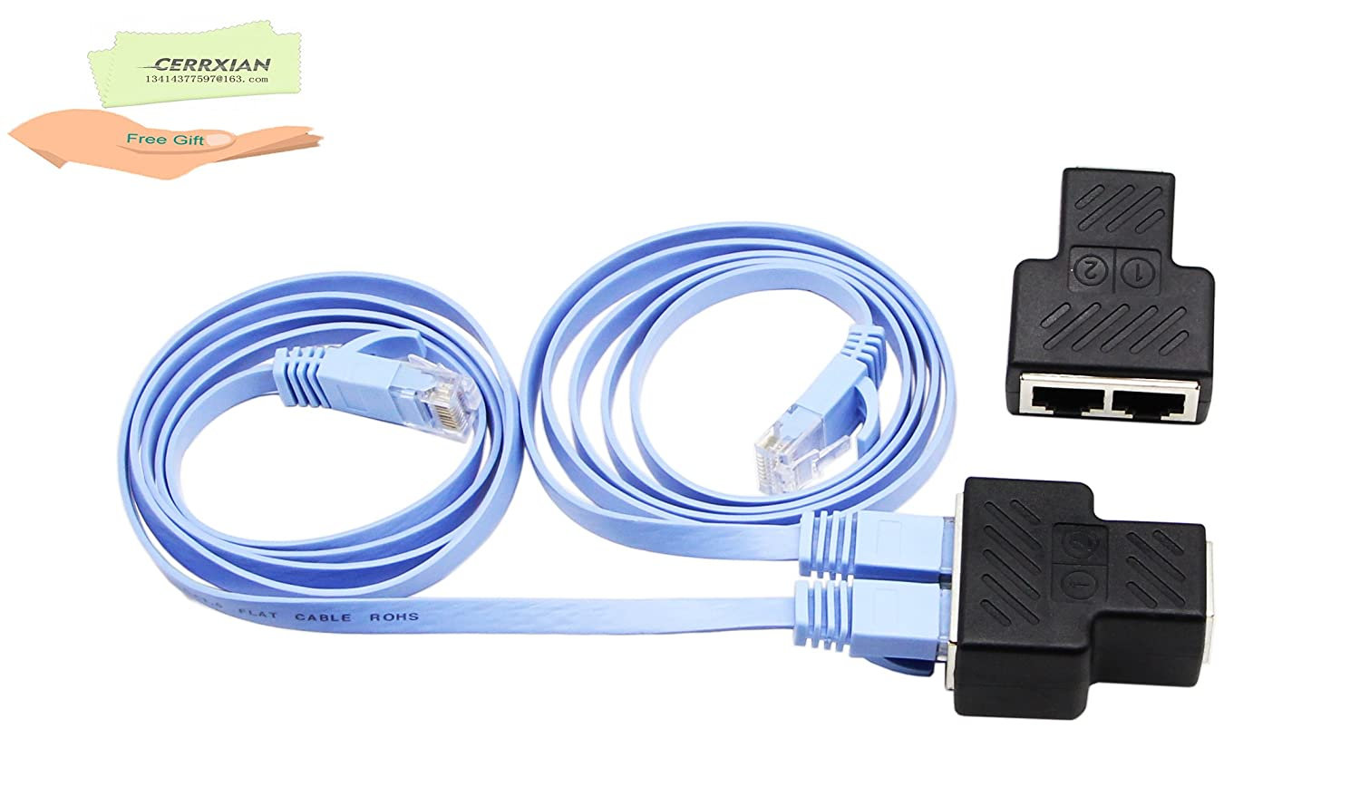 Cerrxian New Rj45 Splitter Adapter Ethernet Cable Cat5 Order Of The Bath And Cat6 Connectors Cat5e Cat7 Network Extension Connector Sharing Kit