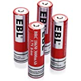 EBL 4 Pack 3000mAh 3.7V 18650 Li-ion Rechargeable Batteries For Flashlight Headlights 1200 Cycles