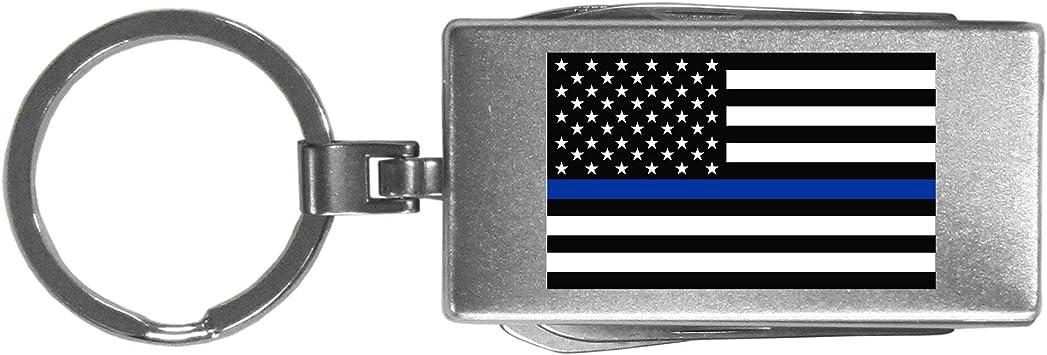 Siskiyou SMTC100 Thin Blue Line Police Flag Multi-tool Key Chain Grey