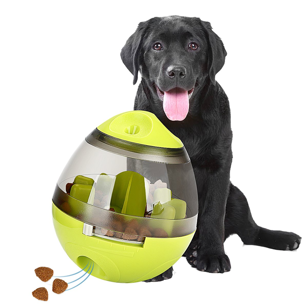 STAJOY Treat Ball Dog Toy, Food Dispensing Ball Interactive Treat-Tumbler Design for Dogs & Cats: Increases IQ and Mental Stimulation (green)