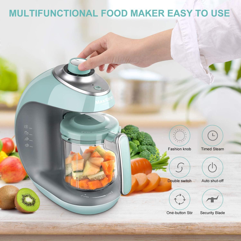 MaxKare - Cocina al vapor 5 en 1 para bebés, con vapor, mezcla, descongelación y calefacción, multifunción, recipiente para mezclar Tritan, temporizador integrado, botón de moda, sin BPA: Amazon.es: Bebé