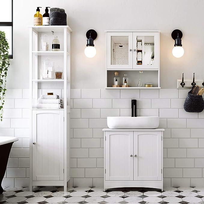 VASAGLE Armario de baño para Debajo del Lavabo Armario bajo Lavabo Armario de almacenaje 2 Puertas 2 Compartimentos Balda Ajustable en Altura Tamaño ...
