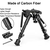"XAegis Carbon Fiber 6""- 9"" Rifle Bipod With Picatinny Rail Adapter For Hunting&Shooting Carbon Bipod"