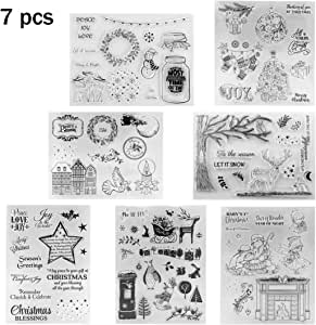 Pack of 7 Merry Christmas Theme Silicone Clear Stamps for Cards Making DIY Scrapbooking Decoration