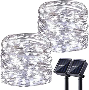 LiyuanQ Upgraded Solar Powered String Lights, 2 Pack 8 Modes 200 LED Solar Fairy Lights Waterproof 66ft Silver Wire Lights Outdoor Garden String Light for Home Patio Yard Party Decoration (Cool White)