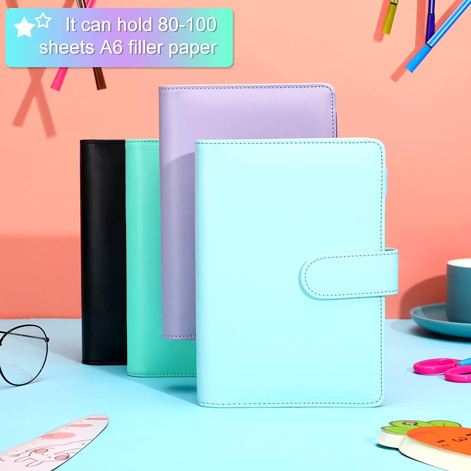 4 Pieces A6 PU Artificial Leather Notebook Binder Loose Leaf Binder Refillable 6 Ring Binder Cover with Magnetic Buckle Closure for A6 Filler Paper Blue, Purple, Black, Green