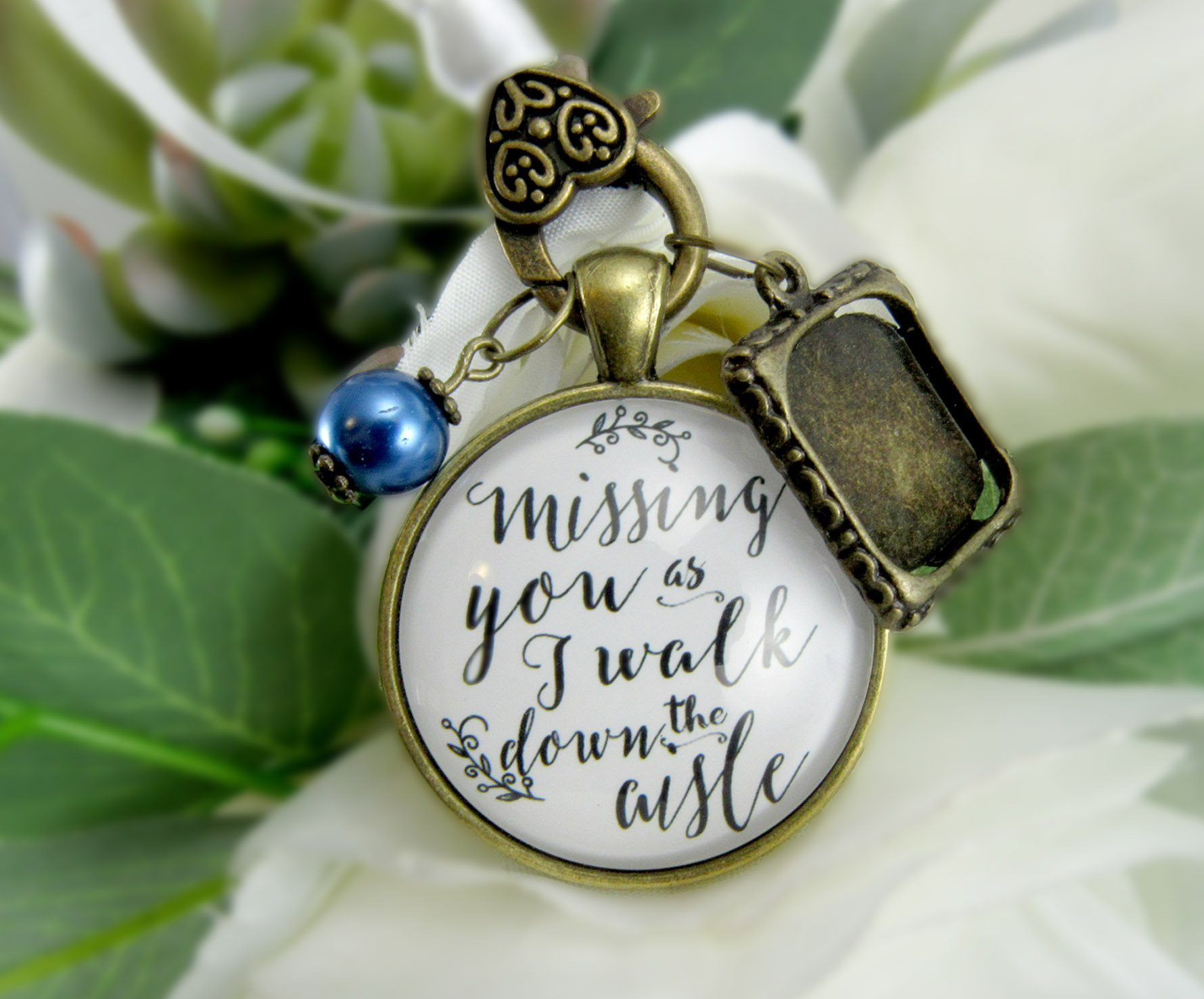 Wedding Bouquet Memory Charm Missing You As I Walk Down the Aisle Blue Bead White Bridal Pendant Memorial Remembrance Photo Jewelry