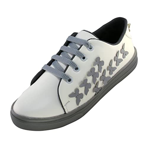 Butterfly Sticked White-Grey Casual