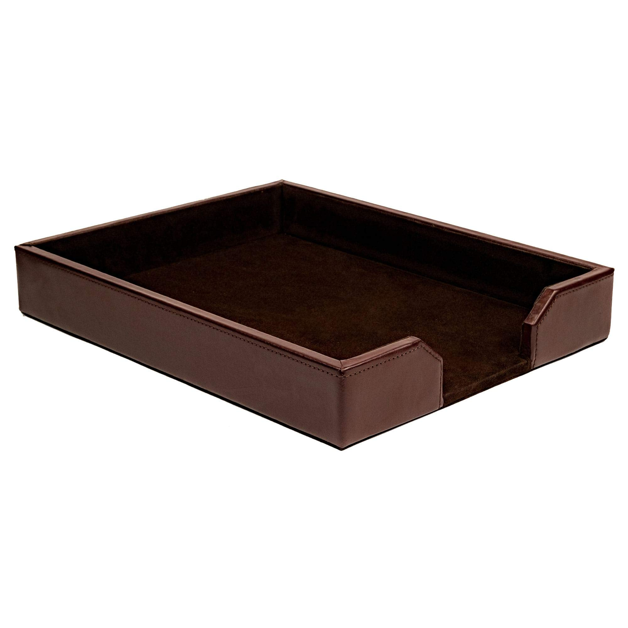 Dacasso Dark Brown Bonded Leather Letter Tray by Dacasso