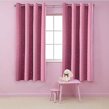 Aifish Grommet Shiny Star Blackout Curtains Panels 2 Set Room Darkening Short Window Treatment Ds