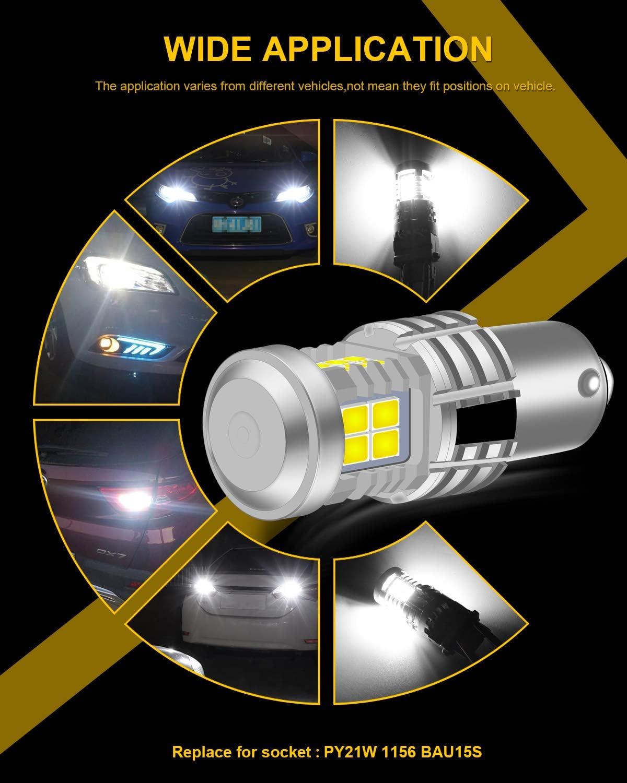 KATUR BAU15S PY21W 7507 Bombillas LED Superbrillantes 12pcs 3030 y 8pcs 3020 Chips Canbus Error Se/ñal de Giro Libre Freno Trasero Cola de estacionamiento Luces,Rojo Brillante Paquete de 2