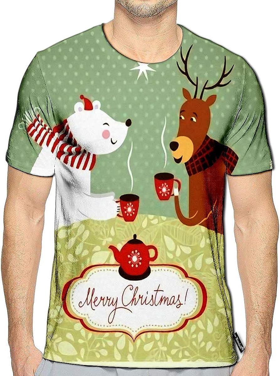 3D Printed T-Shirts Christmas Deer and Bear Drink Hot Tea Short Sleeve Tops Tees