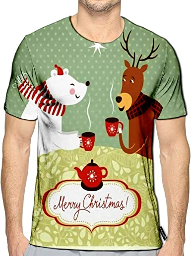 Randell 3D Printed T-Shirts Christmas Design Short Sleeve Tops Tees