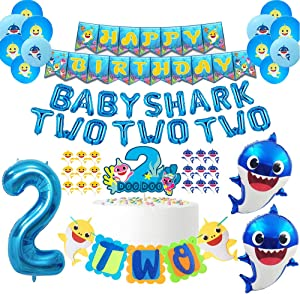 Baby Shark Birthday Decorations Kits 2nd Birthday Baby Shark Party Supplies Baby Shark Two Two Two Balloons Banners Cake Topper Cupcake Toppers For Shark Themed Second Boys Bday Party