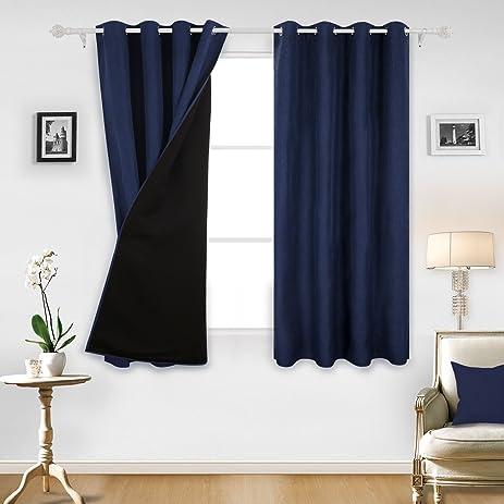 amazon com deconovo navy blue blackout curtains decorative top