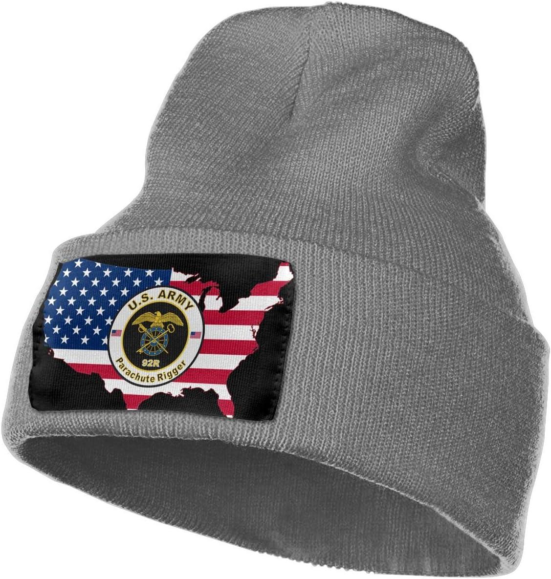American Flag Map Army MOS 92R Parachute Rigger Men/&Women Warm Winter Knit Plain Beanie Hat Skull Cap Acrylic Knit Cuff Hat
