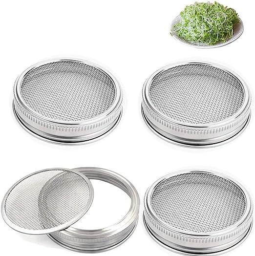 Set de 4 semillas germinadas Jar Kit de tapa de acero inoxidable ...