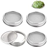Set of 4 Stainless Steel Sprouting Jar Lid Kit