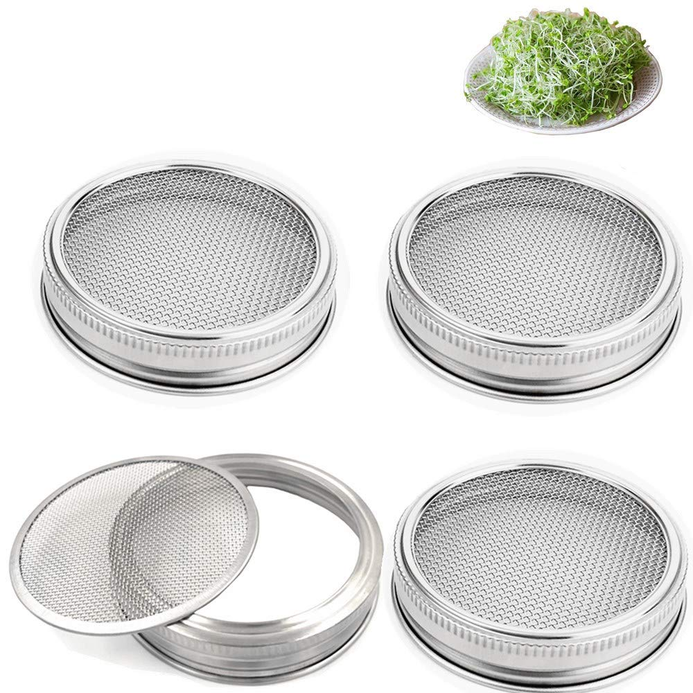 Set of 4 Stainless Steel Sprouting Jar Lid Kit for Superb Ventilation Fit for Wide Mouth Mason Jars Canning Jars for making organic sprout seeds in your house/kitchen