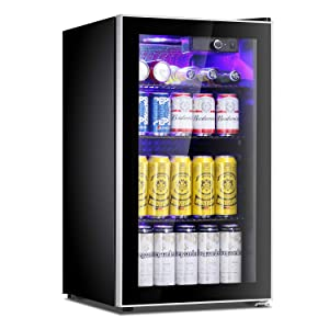 Antarctic Star Beverage Refrigerator Cooler - 100 Can Mini Fridge Glass Door for Soda Beer or Wine – Glass Door Small Drink Dispenser Machine Adjustable Removable for Home, Office or Bar, 3.2cu.ft.