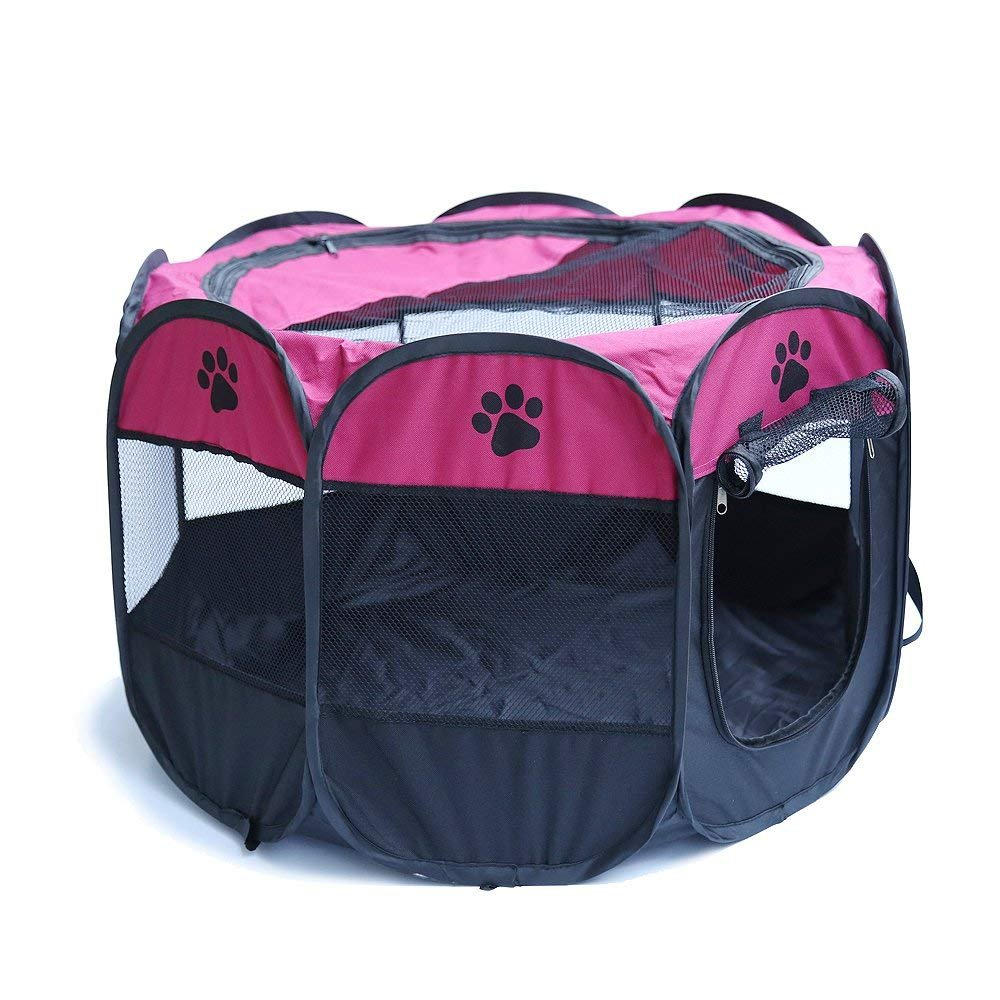 Pop Up Tent Pet Playpen Carrier Dog Cat Puppies Portable Foldable Durable Paw Kennel Rose S by HORING