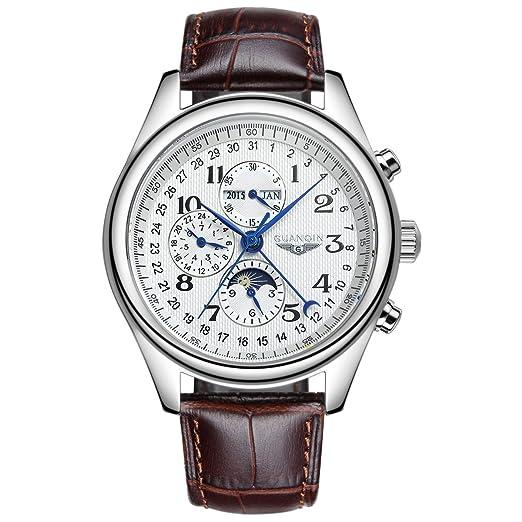 GUANQIN marca nueva Totalmente automático Suiza Calendario Hombres de Negocios Cinturón de reloj, color blanco: Amazon.es: Relojes