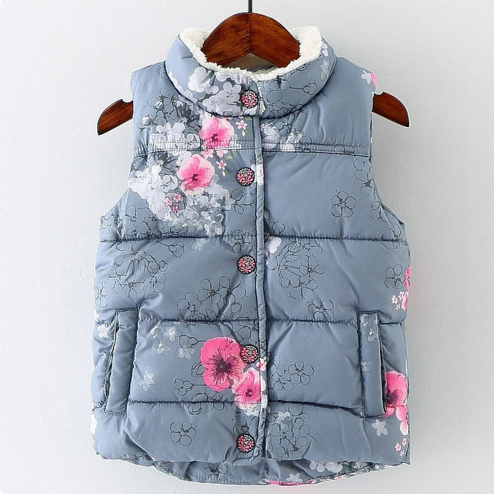 Sameno Baby Winter Warm Vest,Kids Baby Girl Boys Sleeveless Floral Ruched Hooded Warm Waistcoat Tops Vest