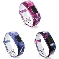 ECSEM Large Bands Compatible with Vivofit JR & Vivofit JR.2 Replacement Patterning Soft Silicone Wristbands Watch Straps, 3pF (3pF, Large)