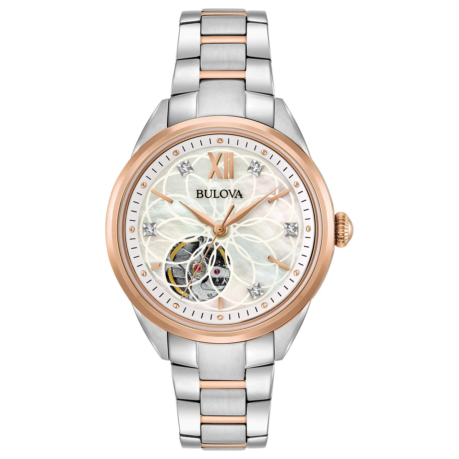 b012b7bb2 Amazon.com: Bulova Women's Automatic-self-Wind Watch with Stainless-Steel  Strap, Two Tone, 15 (Model: 98P170): Watches