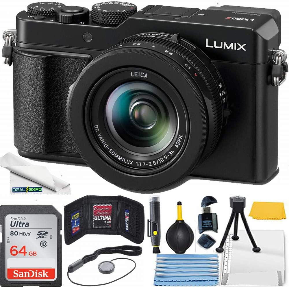 "Panasonic Lumix LX100 II Large Four Thirds 21.7 MP Multi Aspect Sensor 24-75mm Leica DC Vario-SUMMILUX F1.7-2.8 Lens Wi-Fi and Bluetooth Camera with 3"" LCD, Black (DC-LX100M2) - Basic Bundle"