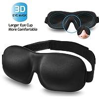 Schlafmaske Frauen&Herren, 3D Hautfreundlich Schlafbrille, Innovative Lichtblockierungstechnik und bequem Weich und leichte Augenmaske, Reise unerlässlich – Schwarz