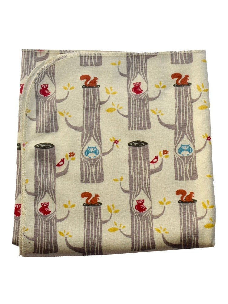 Sophia Sam Baby Cream Wood Friends Pattern Organic Cotton Swaddle Blanket
