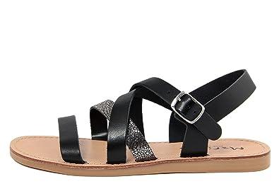 MARIELLA Damen - Sandale - Glattleder - 8627_VACC_Crack_Nero_Peltro