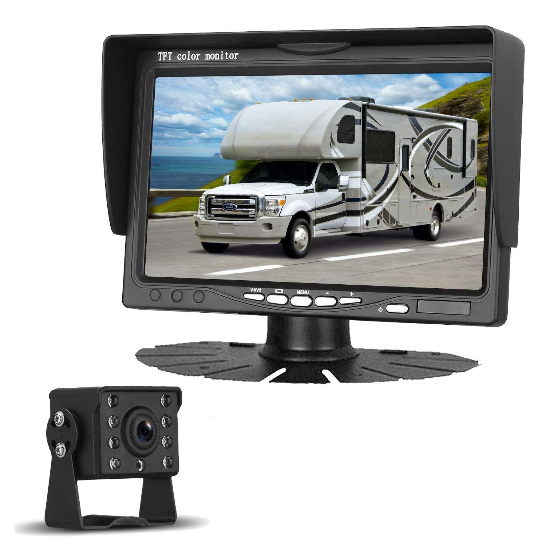 LeeKooLuu HD 720P Backup Camera Kit for Cars/Pickups/Trailers/Trucks/Vans Rear/Front View Single Power Rear Observation System with 7''Monitor Reversing/Driving Use IP69K Waterproof Guide Lines ON/OFF by LeeKooLuu
